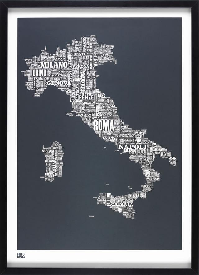 poster mappa italia